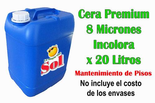Cera Premium 8 Micrones Incolora X 20 Litros ($ 171,00 x Litro)