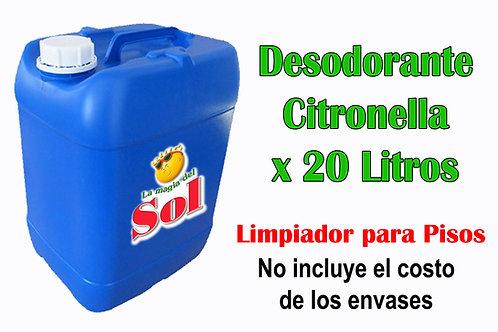 Desdorante para pisos Citronella X 20 Litros ($ 20,70 x Litro)