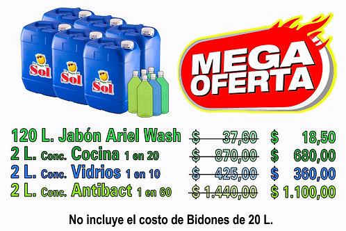 Jabón Ariel Wash X 120 Litros + 6 Conconcentrados