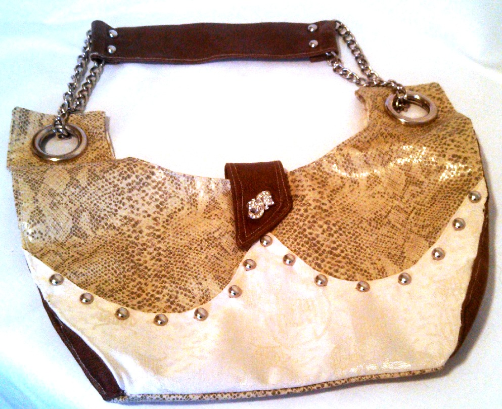 Faux snakeskin.brocade handbag
