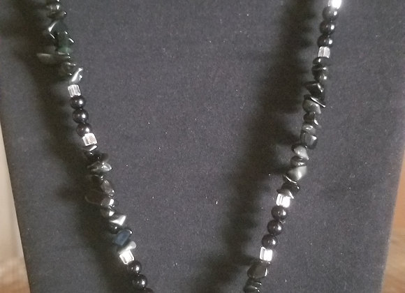 Black Obsidian Stone Necklace