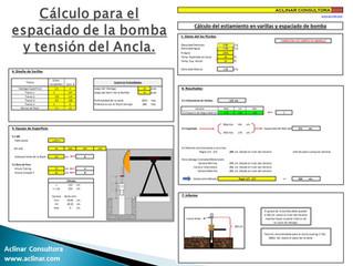 Cálculo del espaciado y tensión del ancla para Bomeo Mecánico