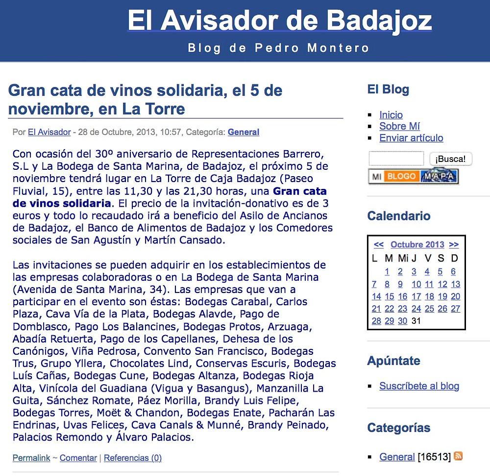 Gran cata de vinos solidaria, el 5 de noviembre, en La Torre | El Avisador de Ba