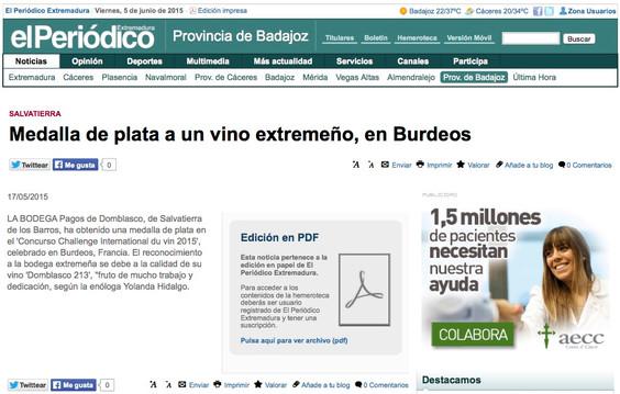 Domblasco en el Periódico de Extremadura.