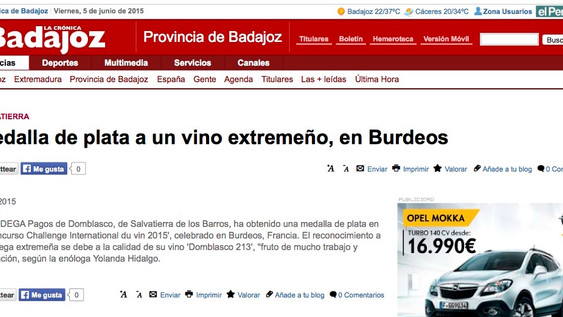 Domblasco en la Crónica de Badajoz