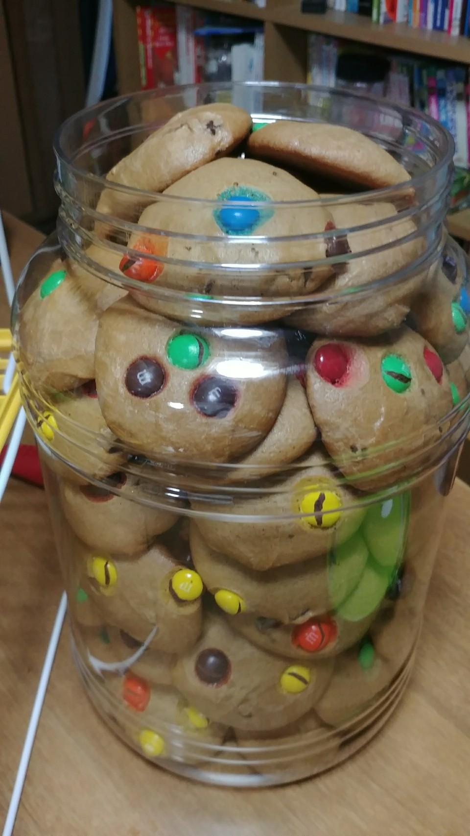 Lots of cookies in a jar.