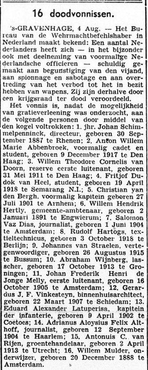 Bekendmaking 1943