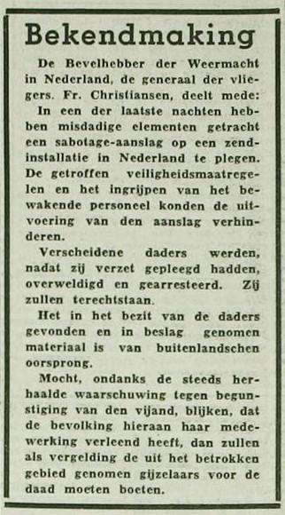 Bekendmaking Rotterdamsch nieuwsblad 12 augustus 1942