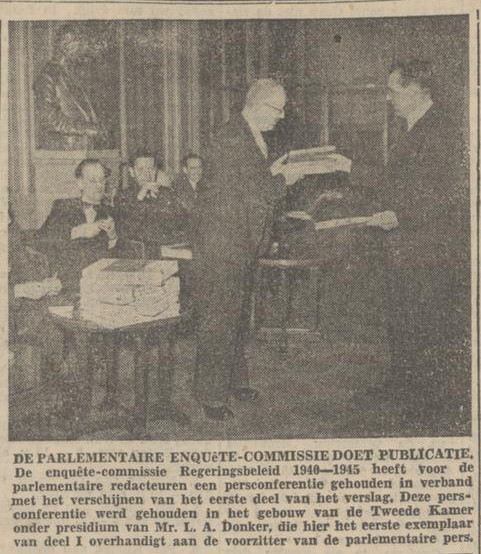 Eerste publicatie enquêtecommissie 1949