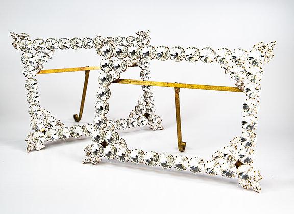 Antique Gemset Swarovski Crystal Frames Gilded Brass & Copper c1930