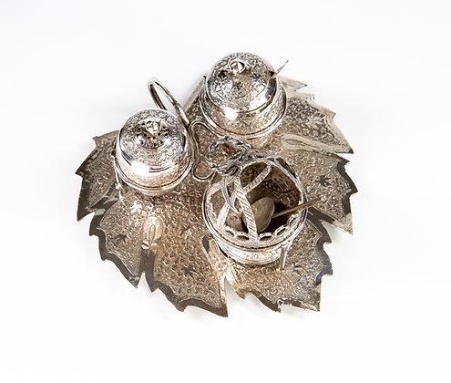Antique Indian Kashmir Silver Cruet On Chinar Leaf 1900