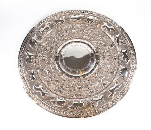 "Large Antique Ceylonese Silver ""Moonstone"" Platter Kandy Sri Lanka1910"