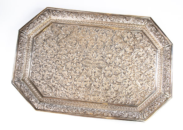 Antique Indian Silver Tea Tray Kutch 1890 Finest Quality