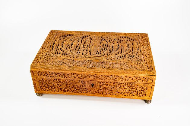 Antique Anglo Indian Carved Sandalwood Box 1900 772 gms Brahma