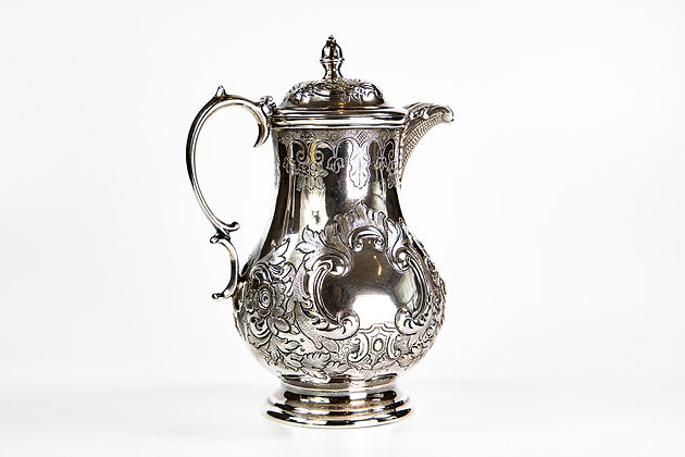 Anglo Indian Colonial Silver Coffee Pot by C.Nephew & co.1850
