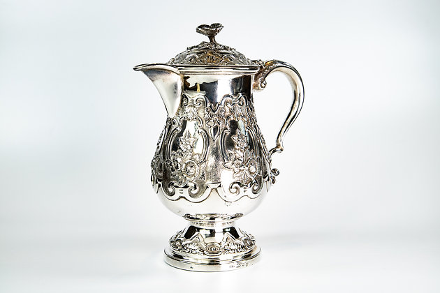Antique Anglo Indian Silver Military Coffee Pot Hamiltons of Calcutta 1862