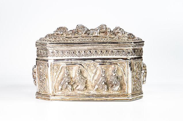 Magnificent Large Heavy Antique Burmese Silver Betel Box 1900