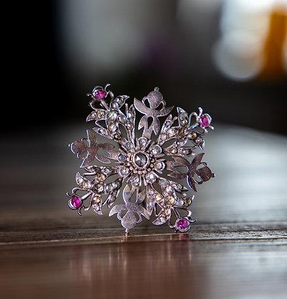 Ceylonese Matara Diamond Jargoon ruby brooch.1875