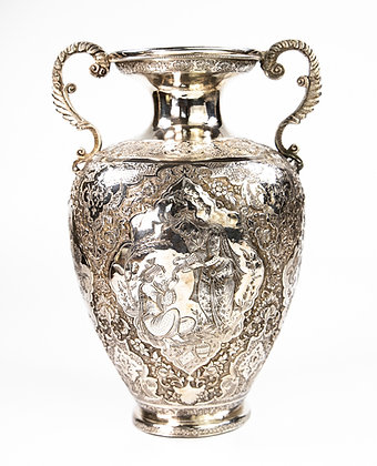 Persian Silver Vase Signed Isfahan 1910 766 gms