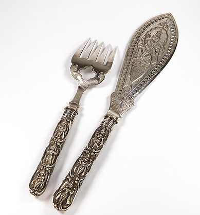 Peter Orr madras Antique Indian silver Fish Servers 1880