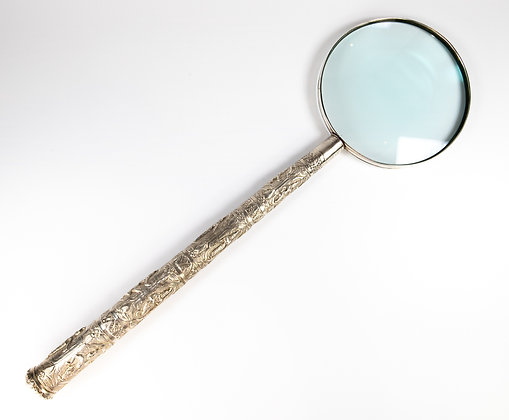 Rare Monumental Antique Indian Silver Magnifying Glass Madras 1890 Huge
