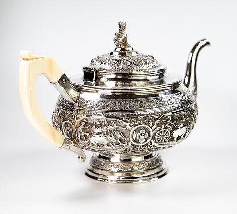 Antique Burmese Silver Tea Set 1890 1724 gms Superb Quality
