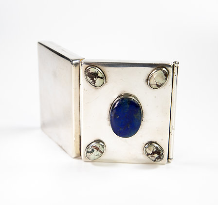 Rare American Silver Cigarette Or Card Case & Pencil Lapis Turquoise