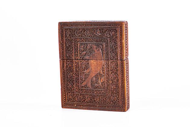Antique Anglo Indian Mogul Carved Sandalwood Card Case 1840