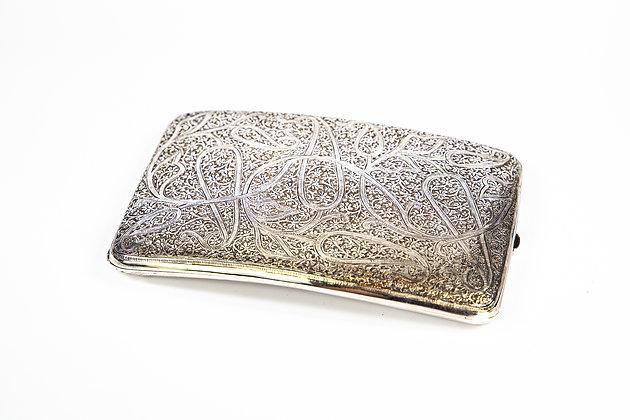 Antique Anglo Indian Silver Gilt Cigarette Case Kashmir 1910 185 gms Excellent