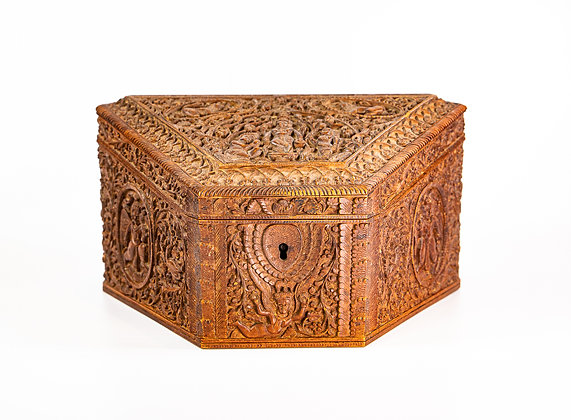Antique Anglo Indian Carved Sandalwood Stationery Box 1890 Fabulous Carving