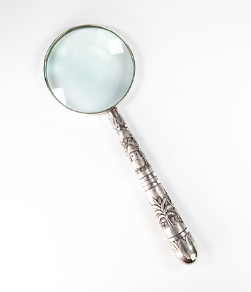 Large Impressive North Eastern Indian Silver Magnifying Glass Calcutta 1890