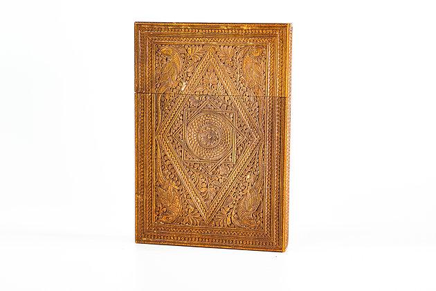 Antique Anglo Indian Mogul Carved Sandalwood Card Case 1875