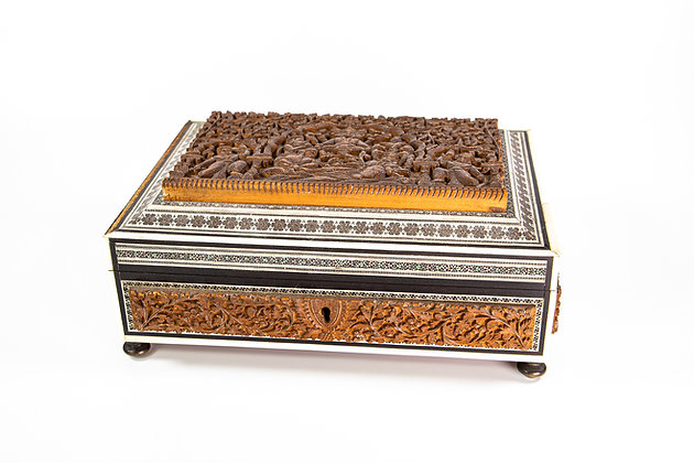 Antique Anglo Indian Carved Sandalwood Box & Inlaid Sadeli work 1875