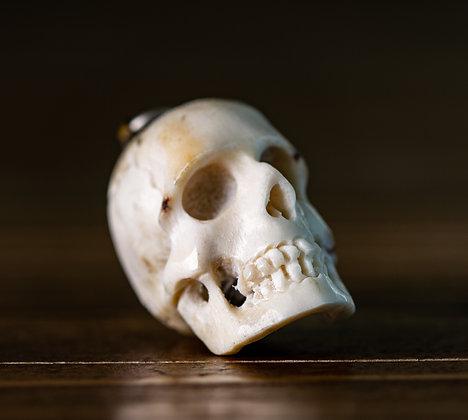 Victorian Skull Momento Mori Carved Lava 1875