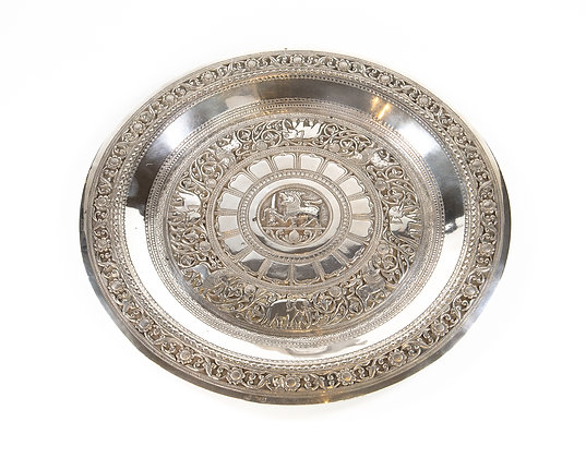 Antique Ceylonese Silver Tray 1910