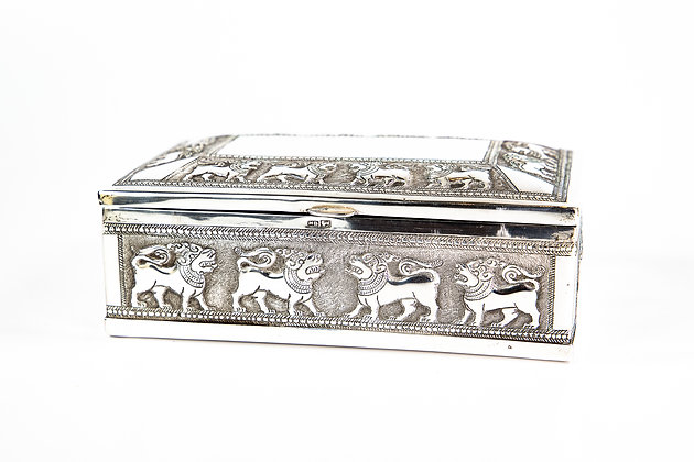 Antique Anglo Indian Ceylon Silver Cigarette Box Signed 1900 338 gms