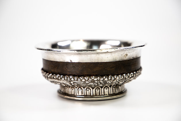 Chinese Sino Tibetan Silver & Wood Dragon Tea Bowl Or Cup 1860
