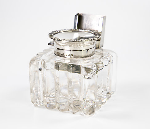 Silver & Cut Glass Inkwell with Silver Match Holder 1911