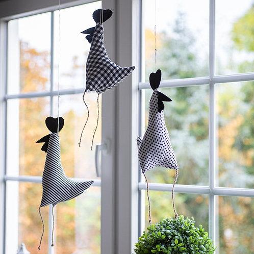 Stoff-Huhn schwarz weiß 30 cm . 5 verschiedene Designs.