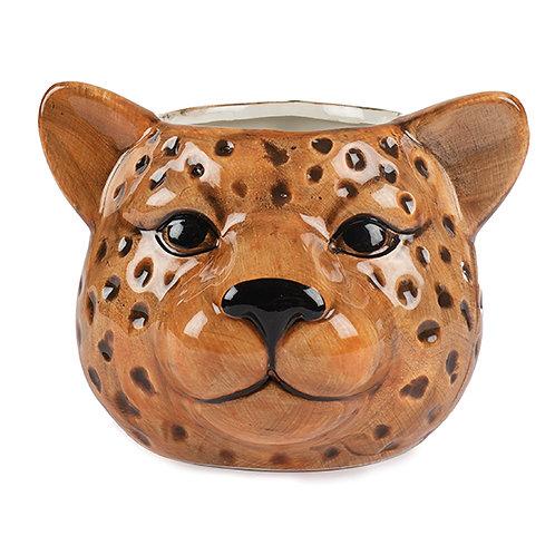 Vase Leopard Kopf 11 cm Keramik