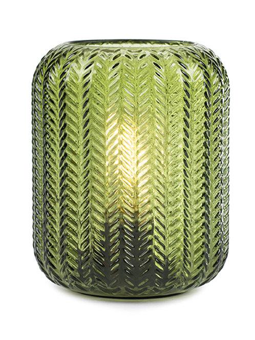 Windlicht Glas LED H: 15 cm Ø 12 cm Grün