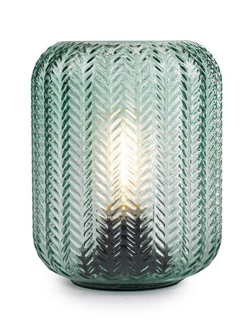 Windlicht Glas LED H: 15 cm Ø 12 cm Farbton Salbei