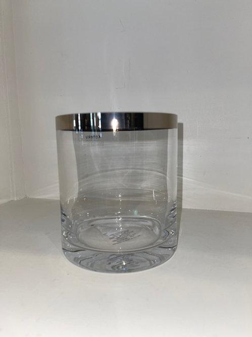 Windlicht Glas mit silbernem Rand H: 14 cm Ø 12 cm KAHEKU