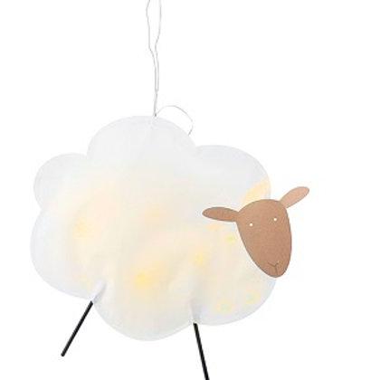 Anhänger Schaf Papier/Holz 30 cm mit LED-Funktion