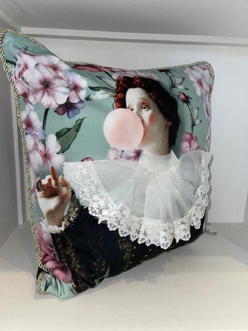 Kissen mit Harlekin Dame 45x45 mit Inlet