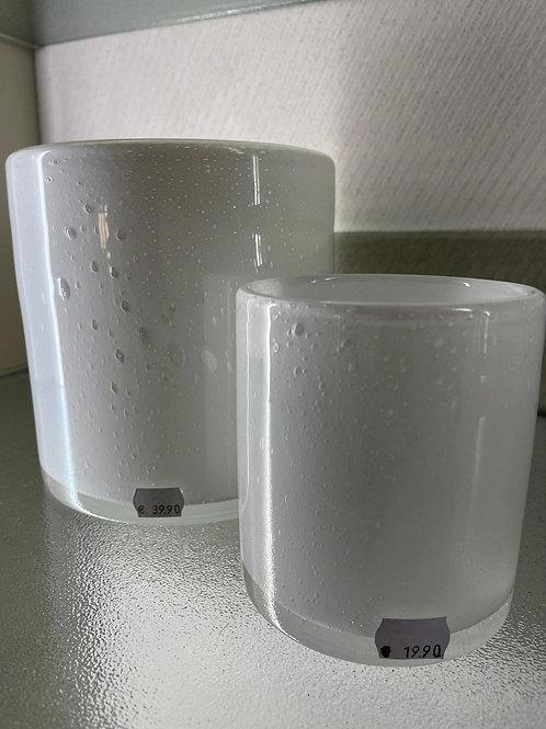 Windlicht Glas, weiß M und L