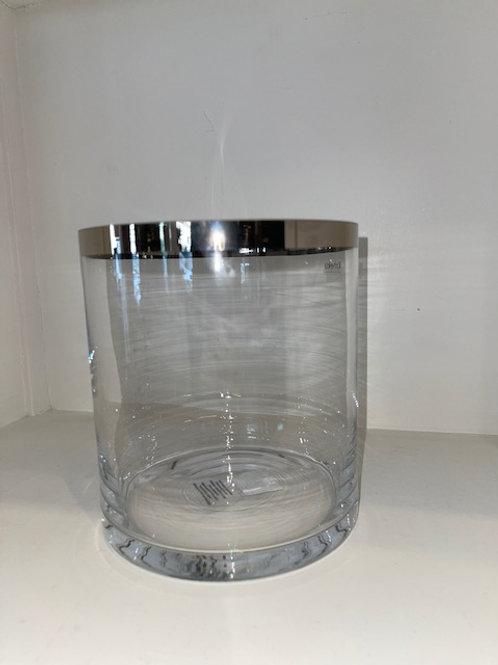 Windlicht Glas mit silbernem Rand H: 18,5 cm Ø 18 cm KAHEKU