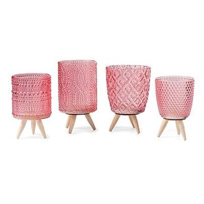 Teelichthalter rosé auf Holzfüßchen 11-13 cm. 4 Designs