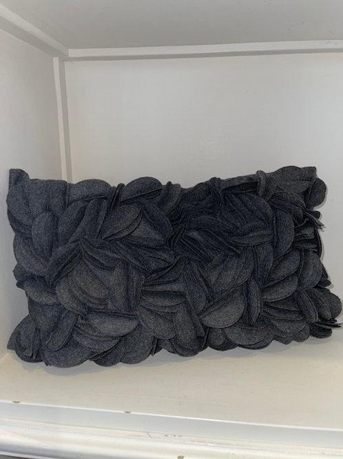 Kissen Wolle dunkelgrau 30x50 cm mit Inlet