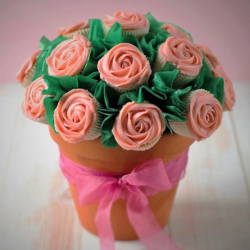 Mini Cupcake Bouquet in Terracotta Pot